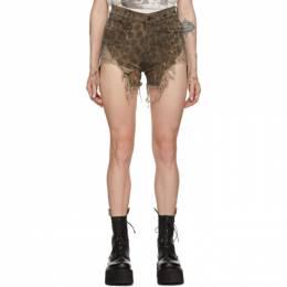 R13 Tan Shredded Slouch Shorts 192021F08800101GB