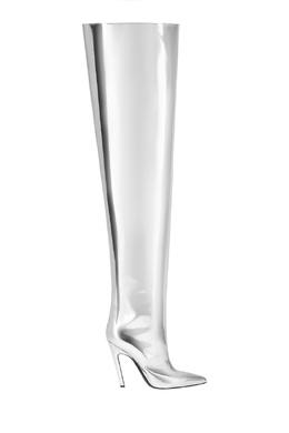 Серебристые ботфорты из кожи Balenciaga 39763231
