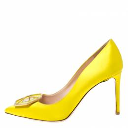 Nicholas Kirkwood Canary Yellow Satin Eden Jeweled Pointed Toe Pumps Size 38 216041