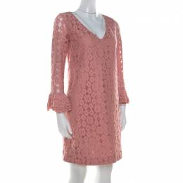 Moschino Cheap and Chic Pink Lace Frilled Sleeve Shift Dress S