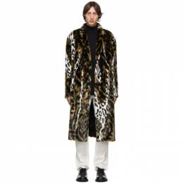 Neil Barrett Tan and White Faux-Fur Oversized Abstract Eco Coat 192368M17600303GB