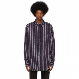 Marcelo Burlon County Of Milan Purple and Black Leopard Stripes Shirt 192539M19200304GB