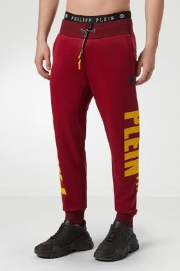 Красные брюки с крупными логотипами Philipp Plein 1795144947