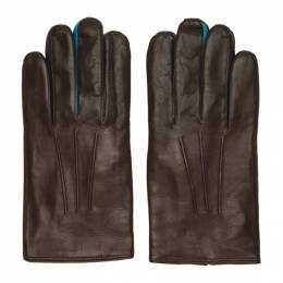 Paul Smith Brown Leather Concertina Gloves 192260M13500401GB