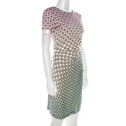 Diane Von Furstenberg Ombre Geometric Print Silk Jersey Draped Zoe Dress M