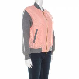 Boutique Moschino Peach Floral Lace Paneled Zip Front Jacket S 216459