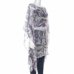 Versace White and Purple Fish Print Sheer Silk Kaftan Tunic Top M 215830