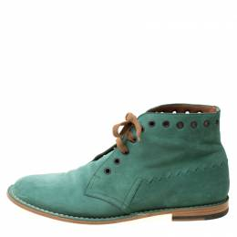 Bottega Veneta Green Suede Lace Up Boots Size 42 215139