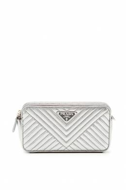 Серебристая стеганая сумка Prada 40105888