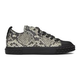 Giuseppe Zanotti Design Black and Beige Multi-Print Blabber Low-Top Sneakers 192266M23701301GB