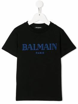 Balmain Kids футболка с контрастным логотипом 6L8591LX160