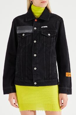 Черная куртка из денима с надписью «Cтиль» Heron Preston 2771145122