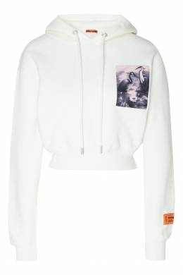Короткое худи белого цвета с принтом Heron Preston 2771145133