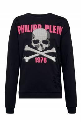 Черный свитшот с принтом и прорезями Philipp Plein 1795144990