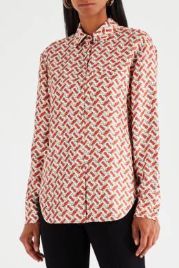 Шелковая рубашка с монограммами Burberry 10144980