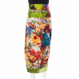 Just Cavalli Multicolor Floral Printed Silk and Velvet Accented Border Detail Belted Skirt L 213406