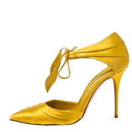 Manolo Blahnik Yellow Pleated Satin Reya Pointed Toe Ankle Tie Pumps Size 38