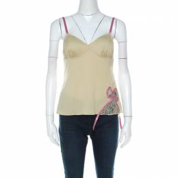John Galliano Green Stretch Cotton and Lace Bow Detail Camisole Top M 216486