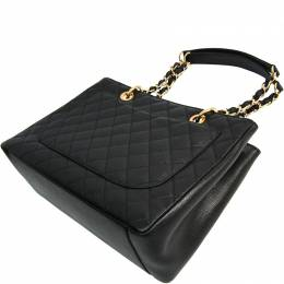 Chanel Caviar Skin Grand Shopping Tote GST A50995 Women's Leather Shoulder Bag Black 215912