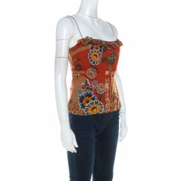 John Galliano Rust Orange Floral Print Silk Camisole Top L 216522