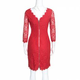 Diane Von Furstenberg Red Lace Long Sleeve Colleen Dress S 156705