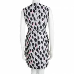 Diane Von Furstenberg Grey New Summer Mini Animal Dots Sleeveless Dress S 98630