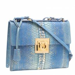Salvatore Ferragamo Blue/Gold Python Gancio Lock Shoulder Bag 200788