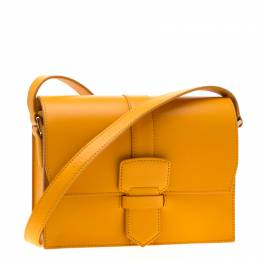 Salvatore Ferragamo Mustard Leather Altea Box Crossbody Bag 200548