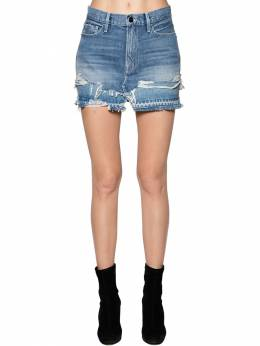 Cotton Denim Mini Skirt Frame 70IVHH010-QUxNRA2