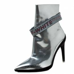 Off-White Metallic Silver Leather For Walking Pointed Toe Ankle Boots Size 36 215715