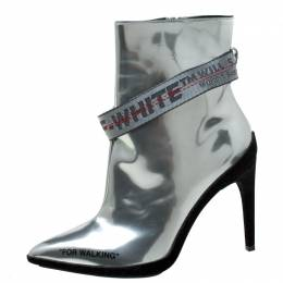 Off-White Metallic Silver Leather For Walking Pointed Toe Ankle Boots Size 36