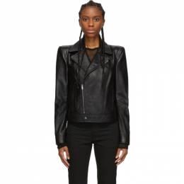 Saint Laurent Black Leather Wide Shoulders Motorcycle Jacket 192418F06400203GB