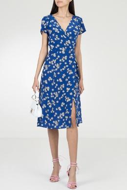 Синее платье-миди с цветочным узором P.a.r.o.s.h. 393145970
