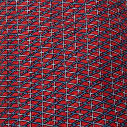 Hermes Red and Blue Geometric Stripe Print Silk Twill Tie 215876