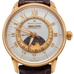 Maurice Lacroix Silver 18K Rose Gold Masterpiece Phase De Lune Men's Watch 40MM 217929