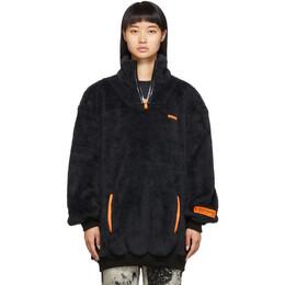 Heron Preston Black Oversized Fire Fleece Sweatshirt 192967F09700704GB