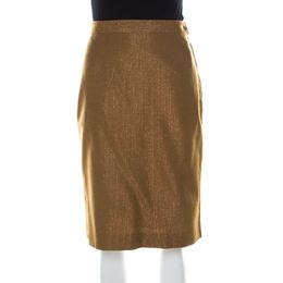 See By Chloe Brown Wool Blend Metallic Gold Pinstriped Pencil Skirt M 216463