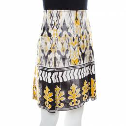 Roberto Cavalli Class Multicolor Batik Printed Jersey Pleated Skirt M 216864