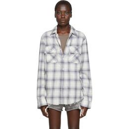 Amiri Blue and Off-White Flannel Plaid Shirt 192886F10900403GB
