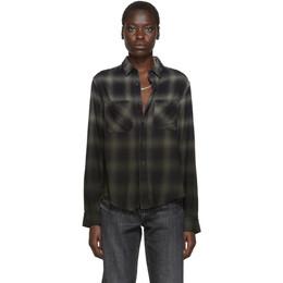 Amiri Green and Black Plaid Ombre Shirt 192886F10900302GB