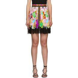 Versace Multicolor Perfume Pleated Miniskirt 192404F09000901GB