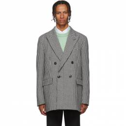 Ami Alexandre Mattiussi Black and White Houndstooth Double-Breasted Blazer 192482M19500804GB