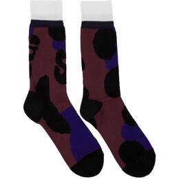 Sacai Burgundy Leopard Socks 19-02128M