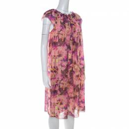 See By Chloe Pink Floral Print Crepe Ruffled Neck Shift Dress M 218406