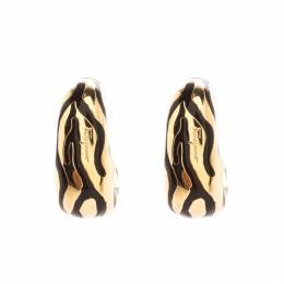 Salvatore Ferragamo Enamel Textured Gold Tone Hoop Earrings 213710
