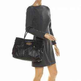 Mulberry Black Python Embossed Leather Bayswater Satchel 215814