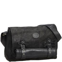 Gucci Black Textured Leather Crossbody Bag