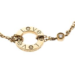 Cartier Love Diamond 18k Yellow Gold Chain Bracelet 218112