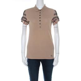 Burberry Beige Cotton Pique Knit Novacheck Sleeve Polo T-Shirt S 218427