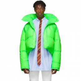 Vetements Reversible and Convertible Green Down Fluorescent Puffer Jacket 192669M17800101GB